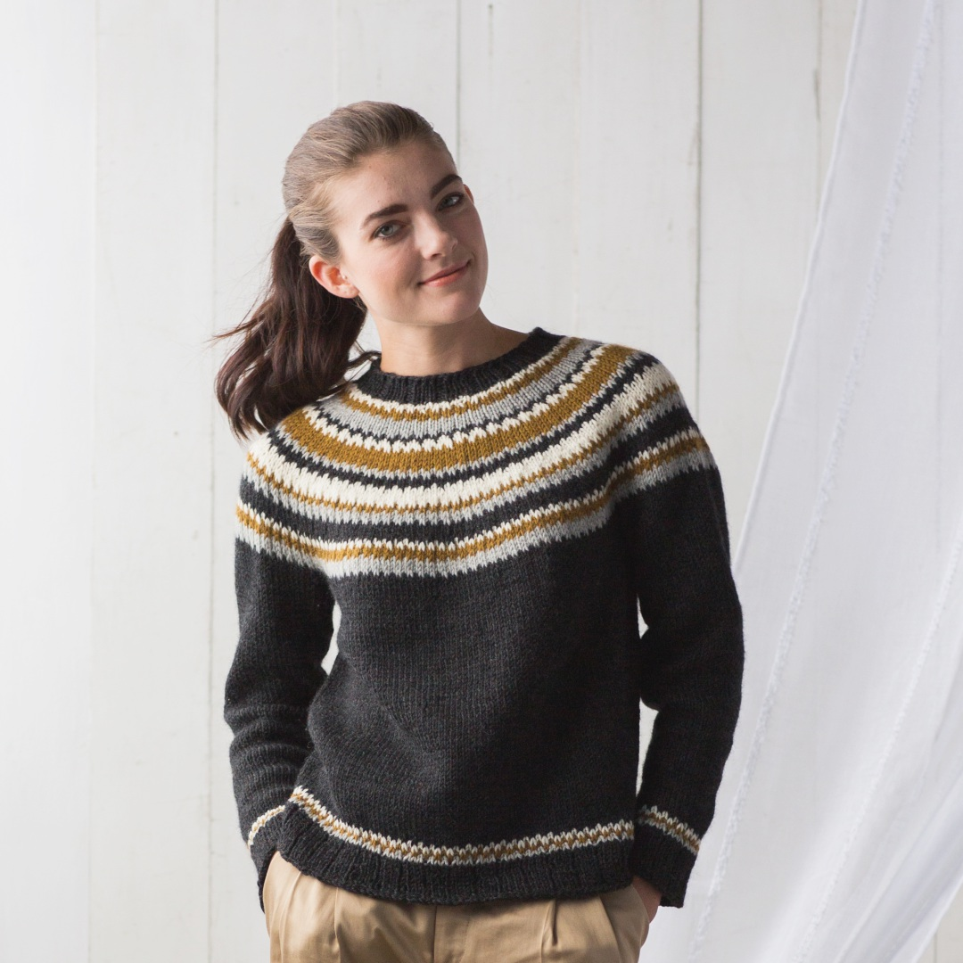 The Fibonacci Rings pullover has an easy-going style with flexible sizing.