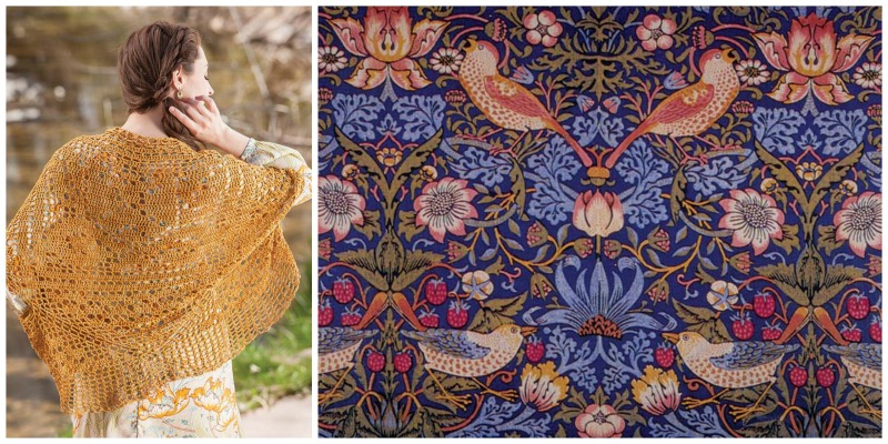 """Left: The back of Robyn Chachula's gorgeous """"Filet Cocoon Sweater Inspired by William Morris"""" from <em>Vintage Crochet</em>, a special <em>PieceWork</em> issue, published in 2016. Photo by Joe Coca. Right: Strawberry Thief by William Morris on a printed textile. Image courtesy of Planet Art CD/Wikimedia Commons."""