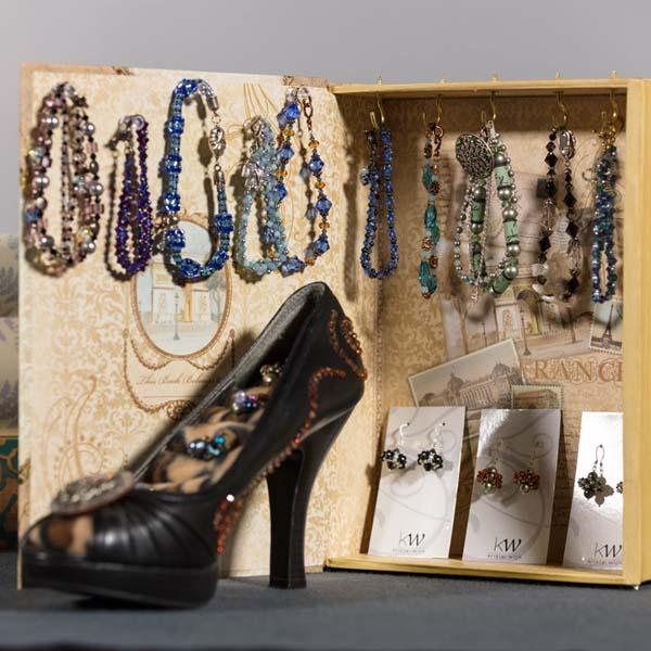 Finishing jewelry tips. Jewelry by Kristal Wick.