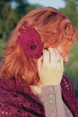 This crochet flower hair clip is a great accessory for any outfit.