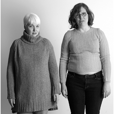 Deb (left) wears a too-big sweater while Laura models one that's too small (right). Beyond the obvious problems of sizing, the silhouettes and ease of these sweaters do not flatter our body types and throw off our proportions.