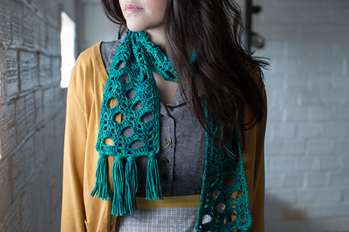 Detail shot of Fizz Crochet Scarf