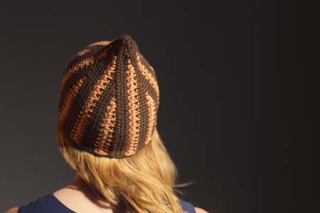 Back of Flame Hat Tunisian Crochet Beanie
