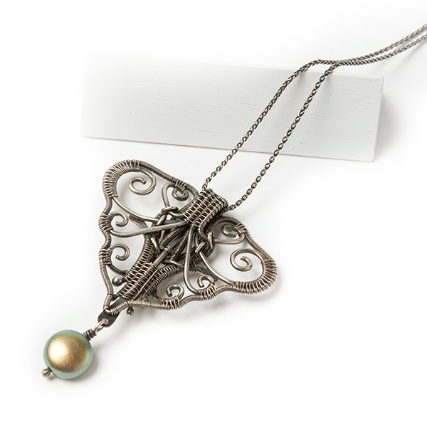 wire jewelry: Flora pendant from Woven in Wire by Sarah Thompson