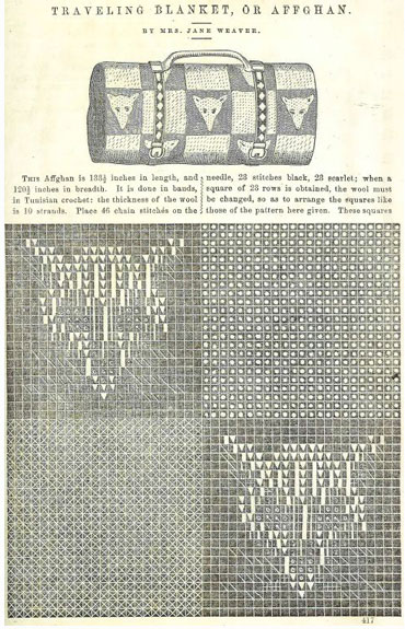 The two pages from the May 1862 issue of Peterson's Magazine. The Traveling Blanket inspired Toni Rexroat's Fox Traveling Bag.