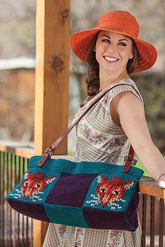 Cross stitch on Tunisian Crochet bag. Love the crochet fox.