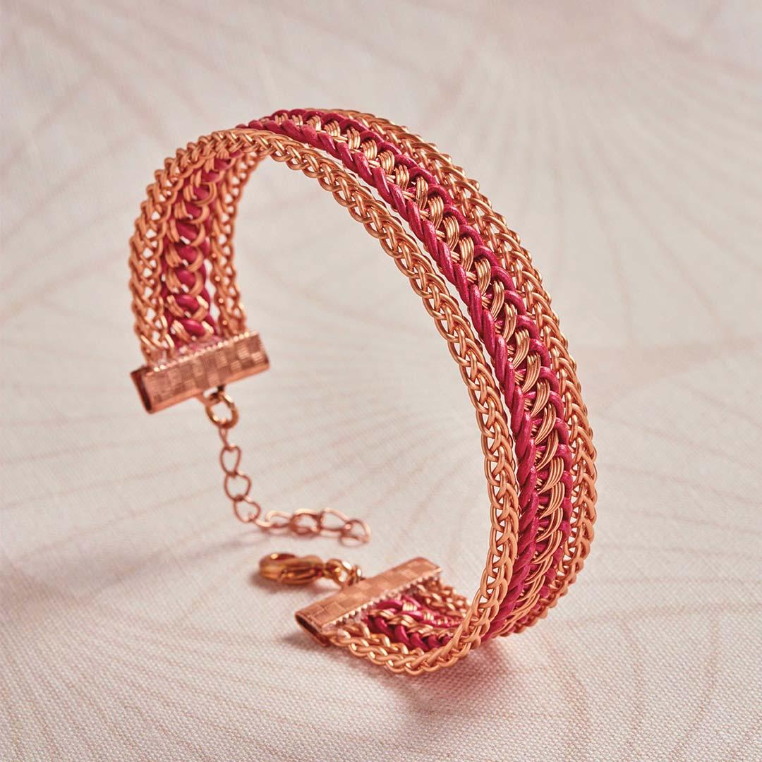 Kumihimo Wirework Made Easy: Framed Leather Bracelet
