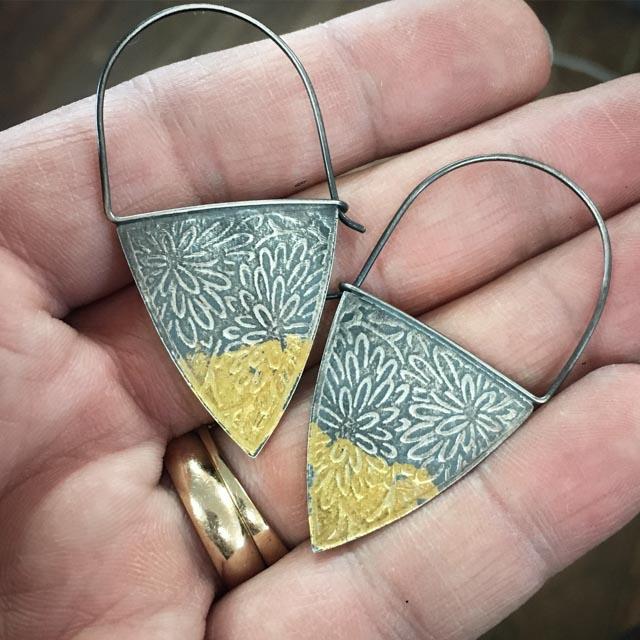 Keum Boo Earrings 1 by Francesca Watson of The Makery.