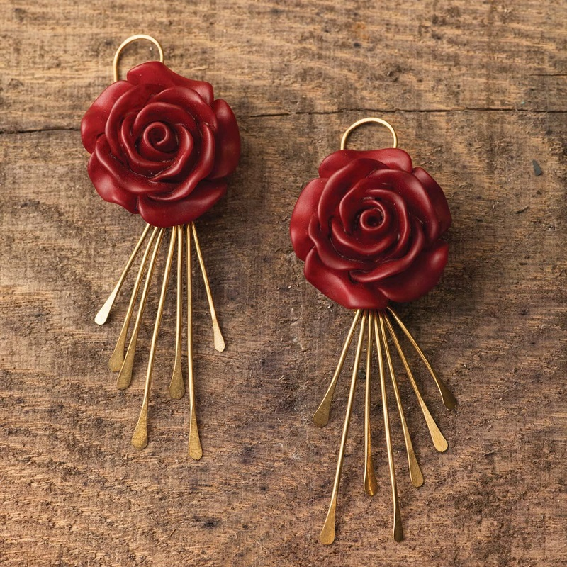 Anne Potter's red rose and brass wire earrings inspired by Frida Kahlo