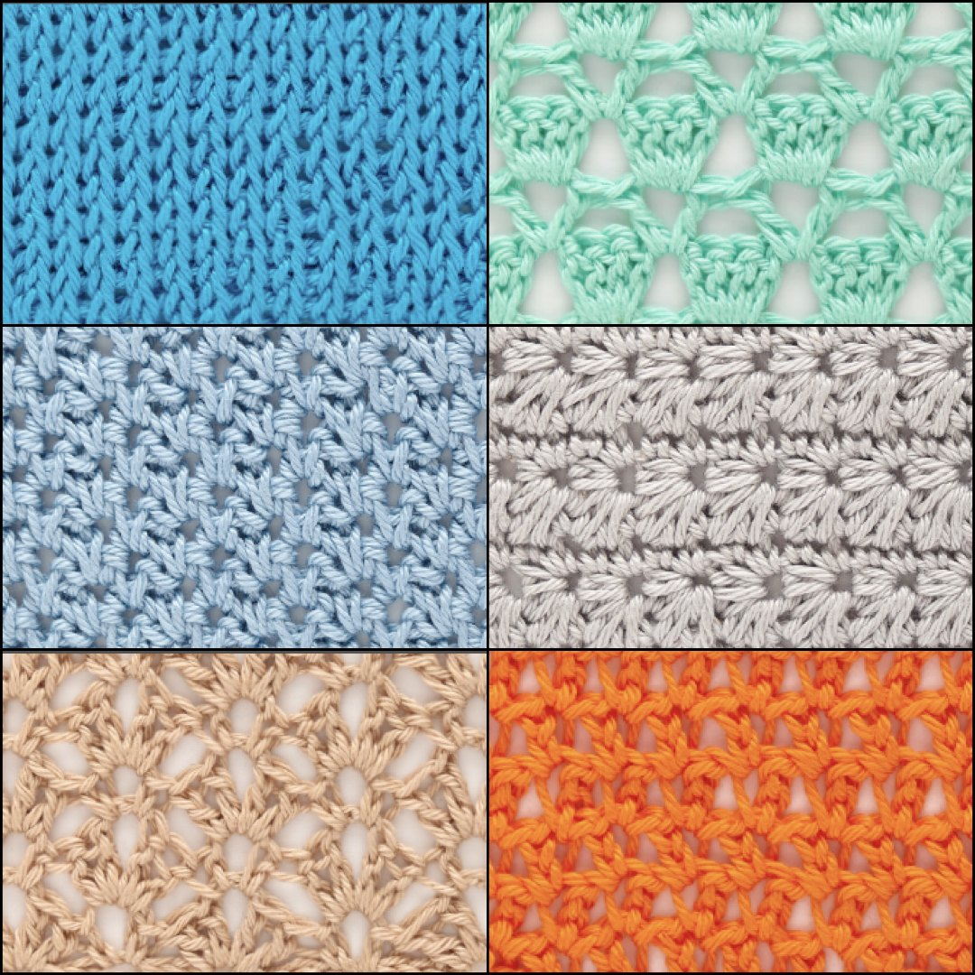 From top-right corner moving clockwise, the Sultan, Marguerite, Extended Single Crochet Mesh, Picot Fans, Simple Spikes, and Tunisian Knit crochet stitches lend themselves easily to a variety of garments, and can all be found in The Step-By-Step Guide to 200 Crochet Stitches. ©Quarto Publishing plc, by Phil Wilkins