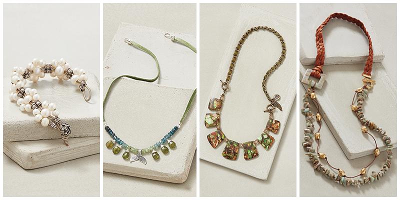 Pearl Blossom Bracelet, Mermaid Splash Necklace, Blarney Stone Necklace, and Boho Braid Necklace