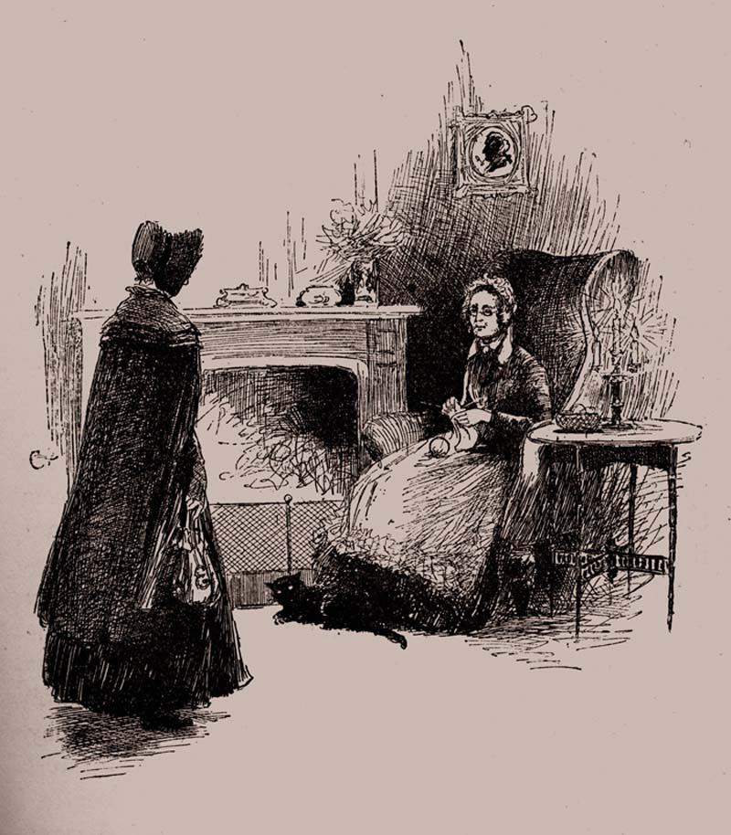 "Jane Eyre meets Mrs. Fairfax. Caption reads: ""Mrs. Fairfax, I suppose?"" Illustrated by Edmund Henry. Circa 1850. Garrett. Photo by Culture Club/Getty Images."