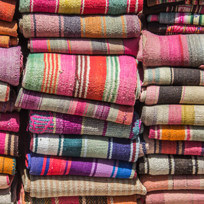 Colorful woven blankets Getty images
