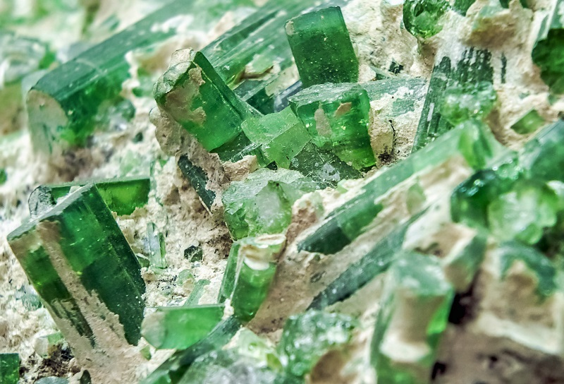 Naturally grown green tourmaline crystals; photo: Getty Images.