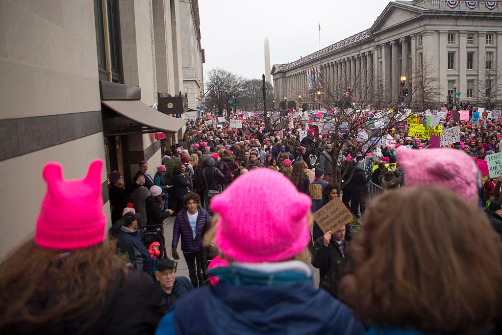 People protest in the streets at the Women's March on Washington on January 21, 2017 in Washington, DC. (Photo by Jessica Kourkounis/Getty Images)