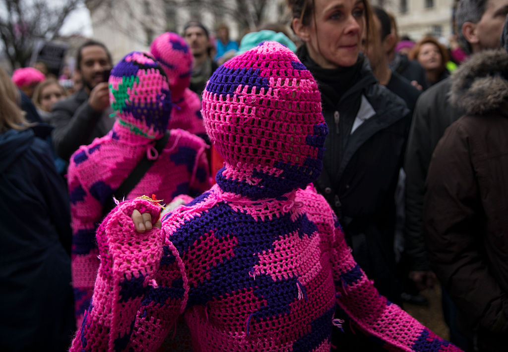 WASHINGTON, DC - JANUARY 21: Marchers in knitted bodysuits attending the Women's March on Washington. (Photo by Robert Nickelsberg/Getty Images)