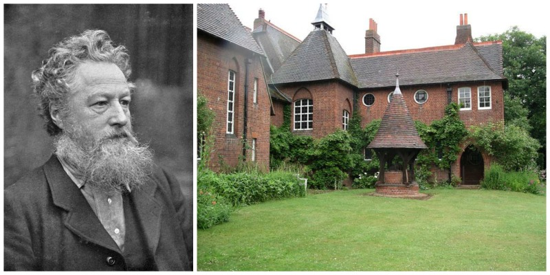 William Morris: Left: Photograph of William Morris. Photo by Photos.com. Right: The Red House in Bexleyheath, home of William and Jane Morris from 1860 until 1865. Photo by Velela and courtesy of Wikimedia Commons.