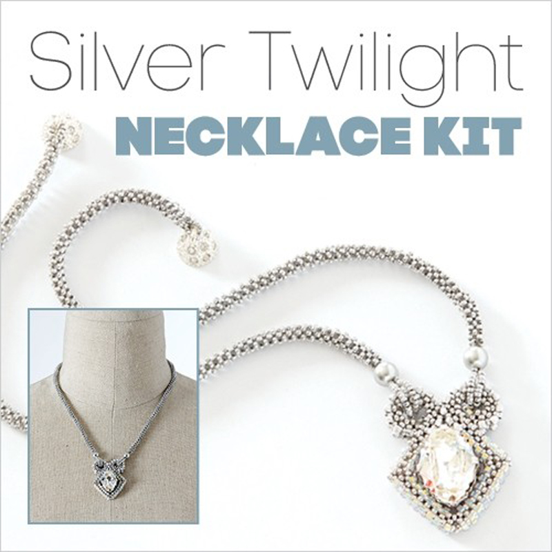 Silver Twilight necklace kit is a perfect beading project for gifting this holiday season.