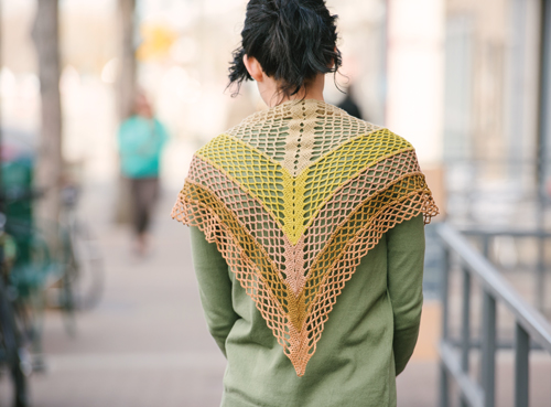 Gingko crochet shawl worn across the back