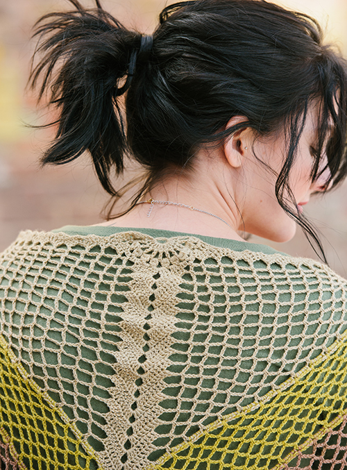 Crochet Filet work in Gingko Shawl