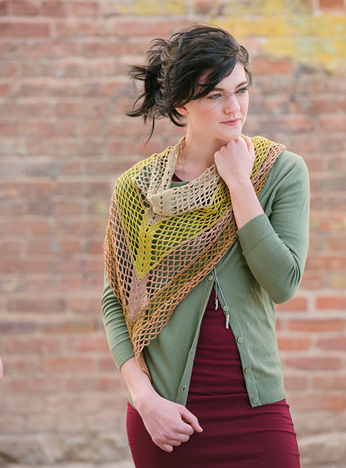 Gingko crochet shawl draped across front