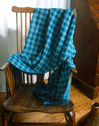 Handwoven deflected doubleweave shawl by Gladys Strong