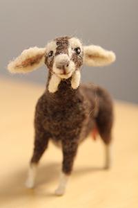 Needle-felted goat