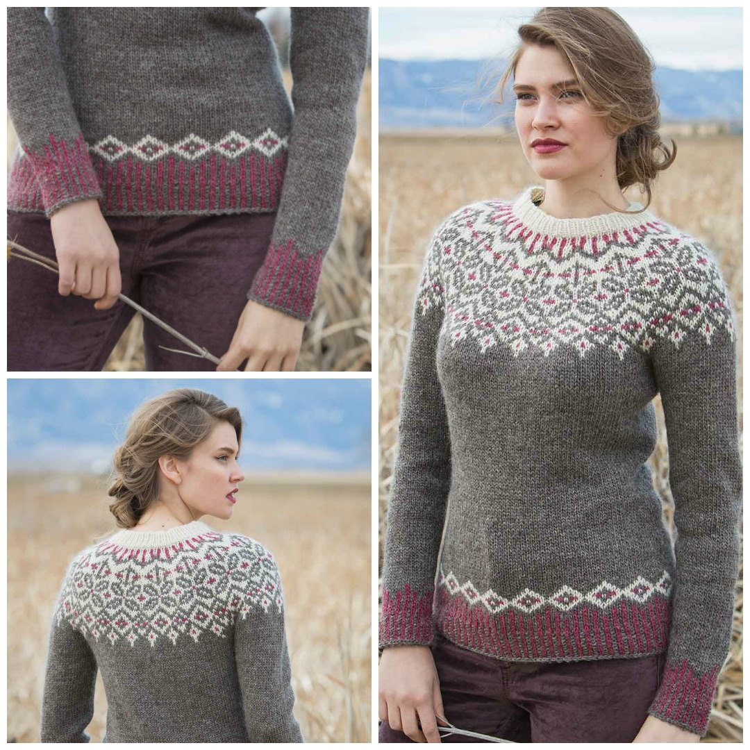 The Grand Forks Pullover is a circular yoke pullover with colorwork at the yoke and corrugated ribbing at hem and cuffs.