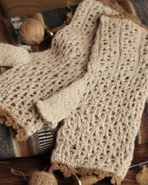 Learn how to knit these knitted lace fingerless gloves.