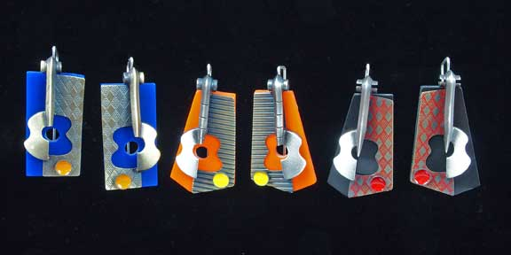 Lisa Cylinder, Scott Cylinder, Guitars Still Life Earrings, recycled jewelry, jewelry artists