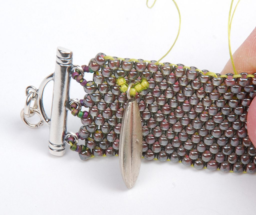 Hill Tribe Silver Fringe Peyote Bracelet, by Tammy Honaman. Peyote Bead Weaving instructions Step 4b