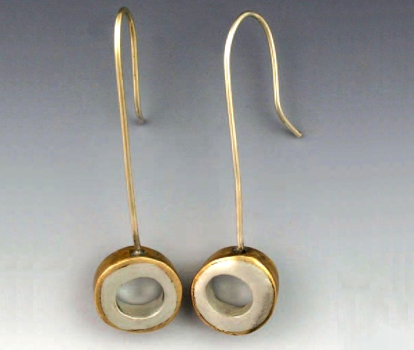 Hadar Jacobson's bronze and silver metal clay earrings