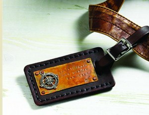 """Wanderer"", luggage tag by Kristina Hahn Eleniak. Stringing, Winter issue"