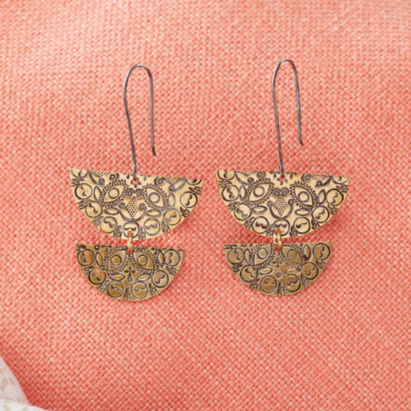 New Ways to View Basic Shapes with New Stamped Metal Jewelry. Half Mandala Earrings