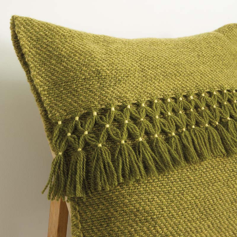 Hand Woven Home: The Tweed and Twill Pillow Cover with Eskimo Joined seams and staggered bound warp fringe.