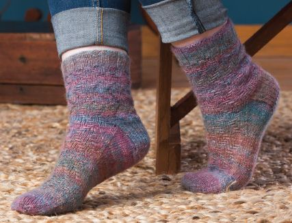 multicolor knit socks