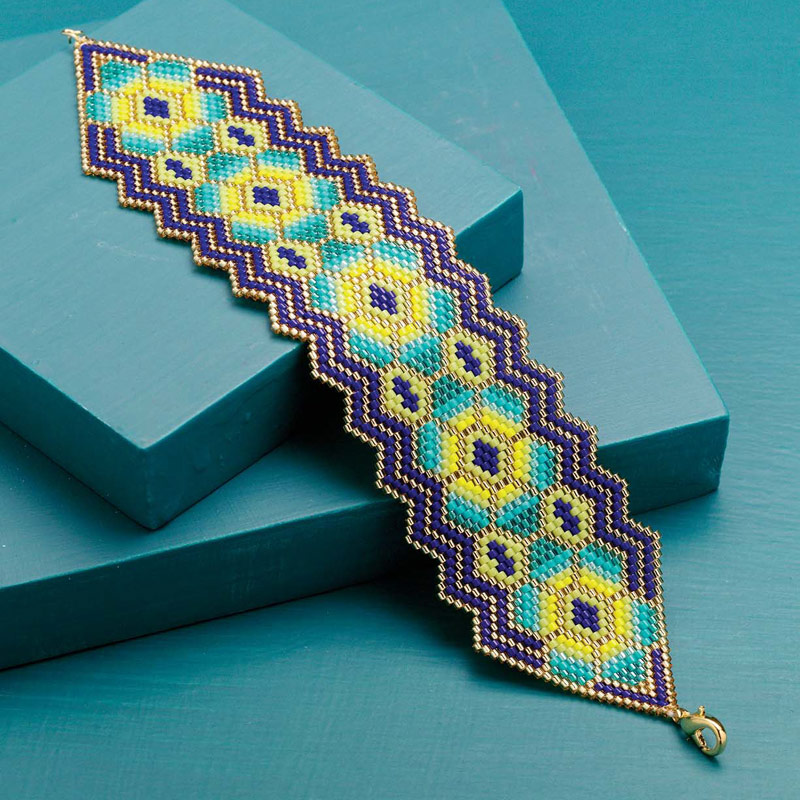 Bead Weaving a Southwest-Inspired Piece of Jewelry. Carole E. Hanley used a bright pop of color to stitch stylized cactus blooms.