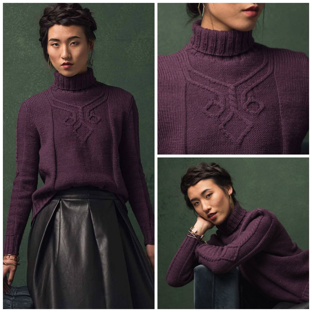 A unique cable motif adorns the chest of the Hansen Pullover, an irresistible winter knitting pattern with a chic turtleneck and a long shirttail.