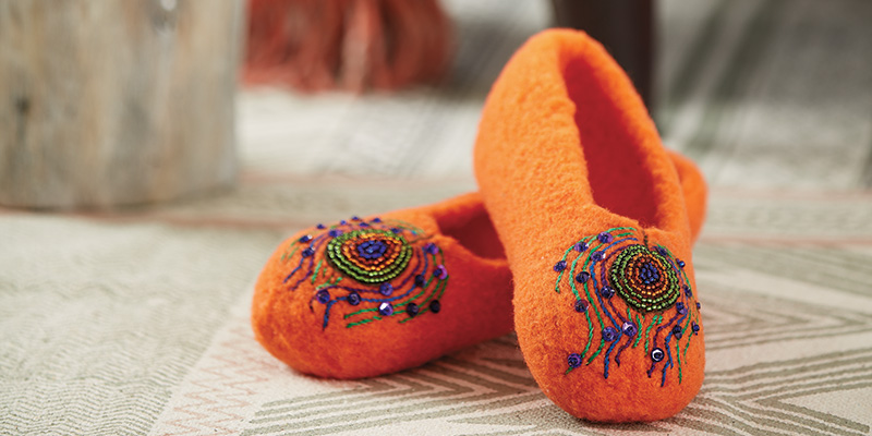 Knit, Felt & Embroider a Cozy Pair of Peacock Slippers