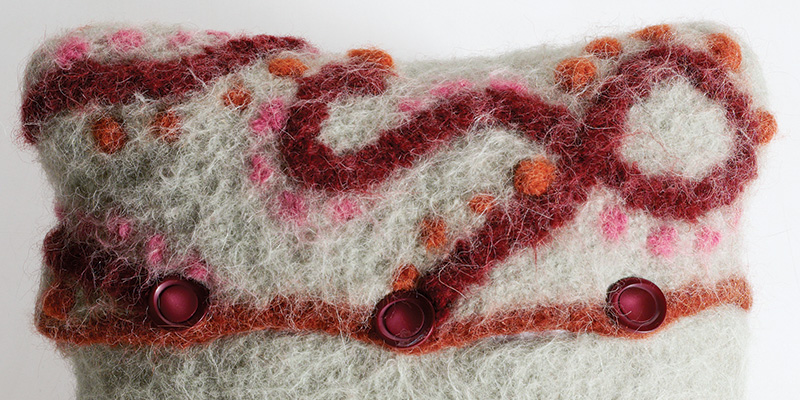 "Knit, Embroider, and Felt a ""Scribble"" Pillow"