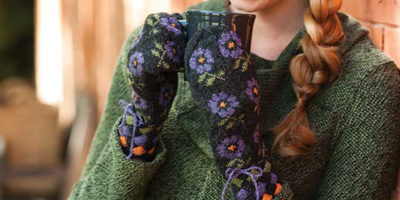 Guard against winter's chill with these lovely entrelac and stranded colorwork mittens.