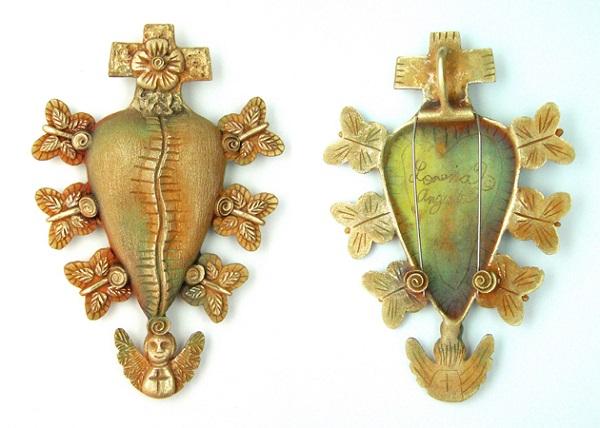 Healing Heart metal clay jewelry by Lorena Angulo