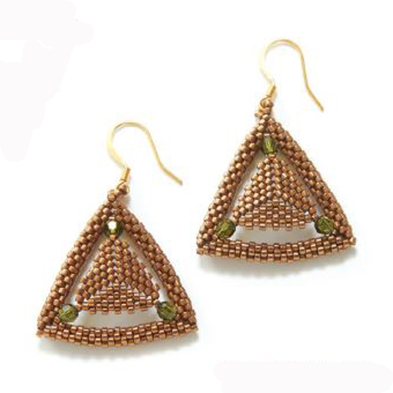 Robijo Burzynski's herringbone stitch Equilateral Earrings from <em>Beadwork</em>, June/July 2016 work two nested triangle motifs together to create these coveted geometric earrings