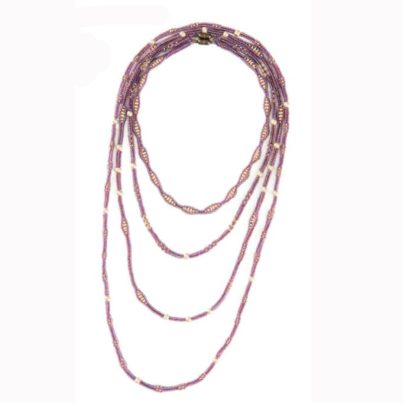 Weave beads using tubular herringbone stitch to create this set of necklaces by Anneke van Ingen