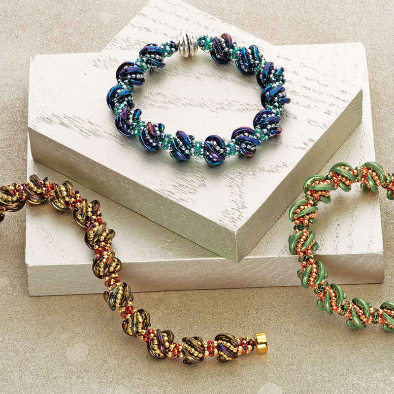Whirligig Bracelet by Kassie Shaw is a versatile rope pattern you can turn into a bracelet or necklace.