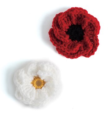 combat crochet: Hope Blooms shown in Gardenia (white and yellow) and Poppy (red and black)