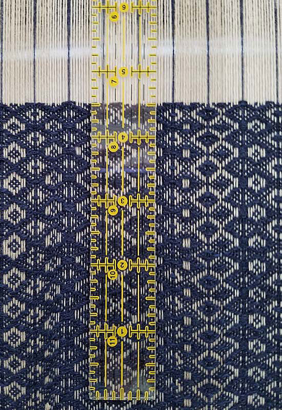 Use Your Cellphone Camera in Weaving: ruler on loom