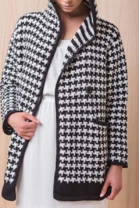 Button on Houndstooth Tunisian Crochet Coat