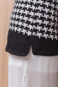 Eding of Tunisian Crochet Houndstooth Coat