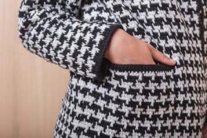 Pocket on Tunisian Crochet Houndstooth Coat